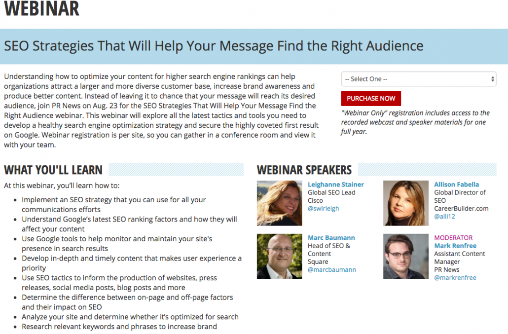 SEO strategies for PR webinar with Marc Baumann